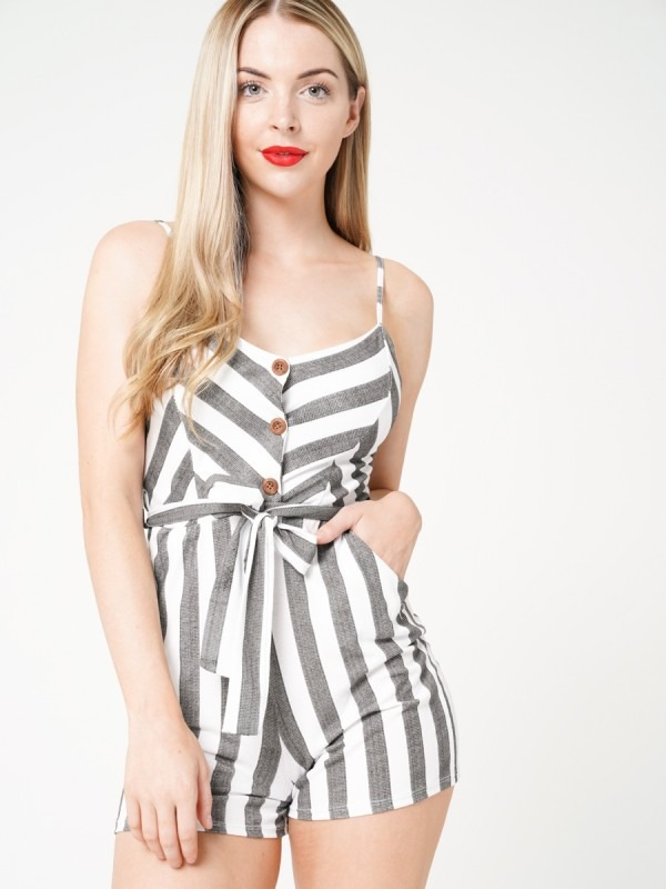 Button Front Striped Cami Playsuit