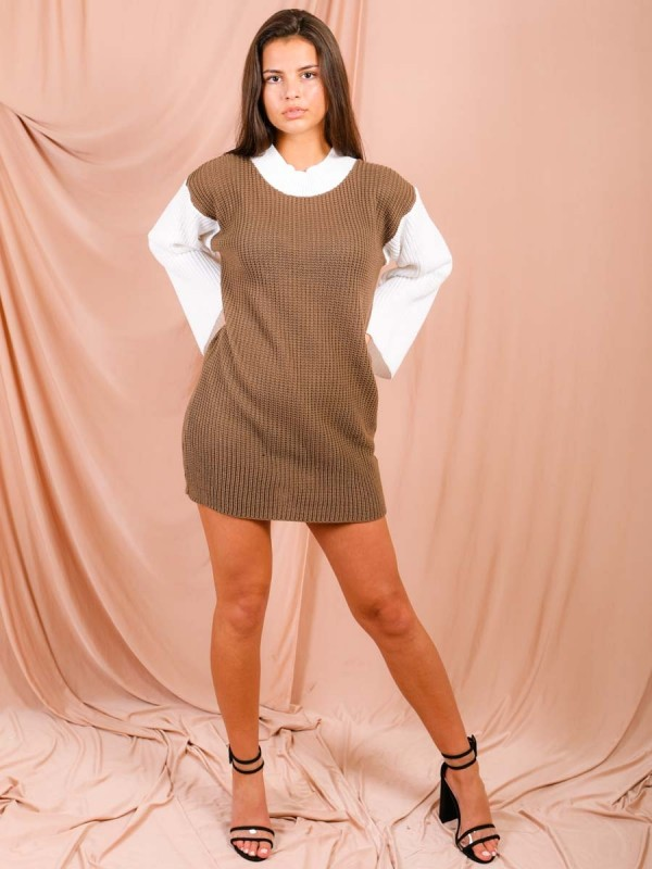 Contrast Sleeve Knitted Jumper Dress