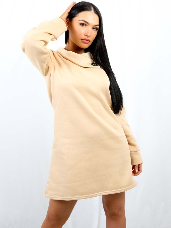Oversized Fleeced Sweatshirt Dress