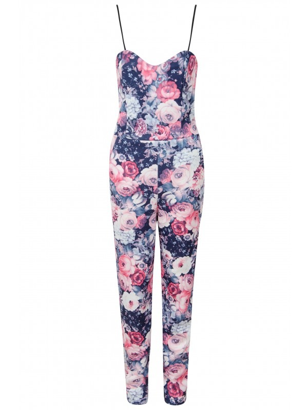 Floral Rose Print Strappy Jumpsuit
