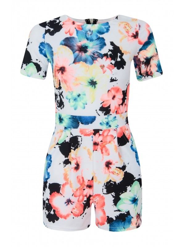 Bright Floral Print Zip Back Playsuit