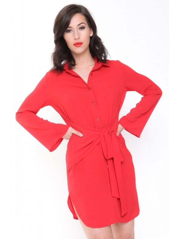 Bow Tie Front Shirt Dress