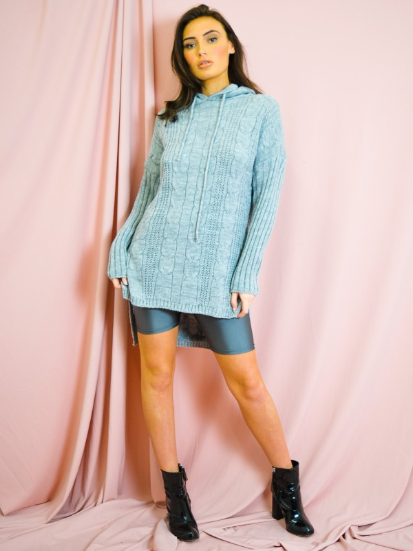 Dip Hem Cable Knit Jumper With Hood