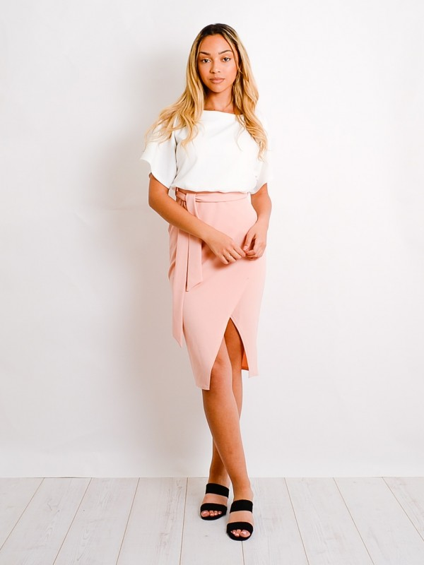 Contrast Wrap Front Belted Midi Dress