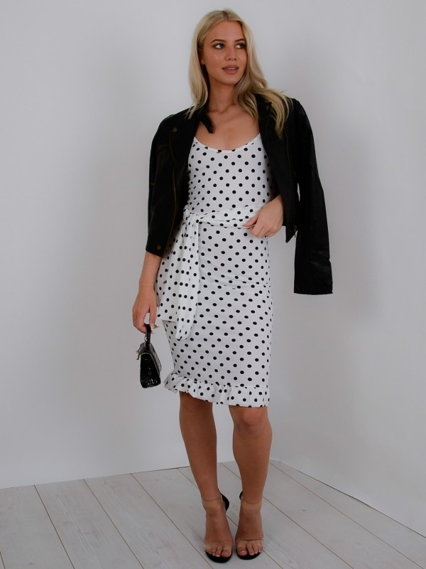 Polka Dot Frill Hem Belted Dress