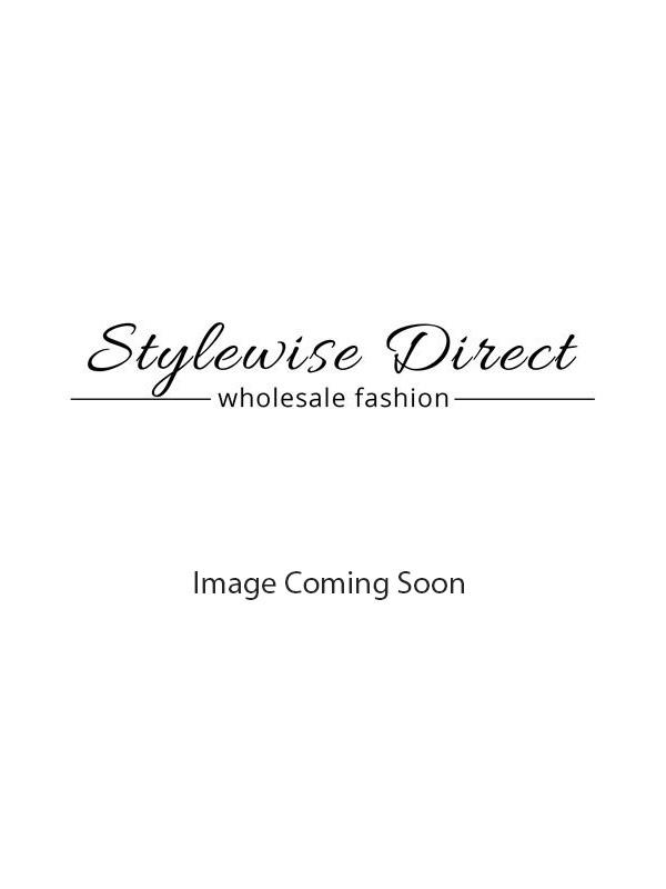 Foil Detail One Shoulder Wrap Front Dress