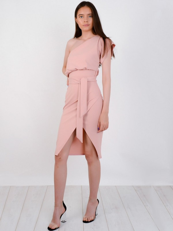 One Shoulder Wrap Front Belted Midi Dress