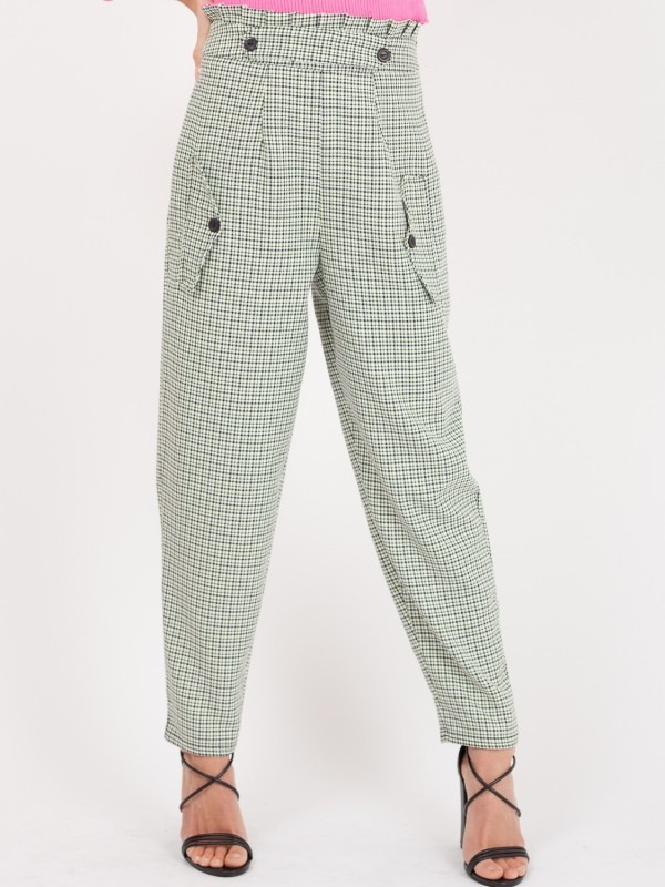 Gingham Check Paper Bag Waist Trousers