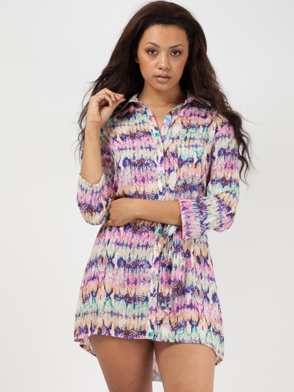 Mosaic Snake Print Tie Waist Shirt Dress
