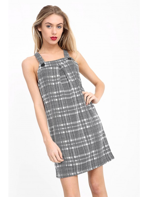 Multi Check Pinafore Dress