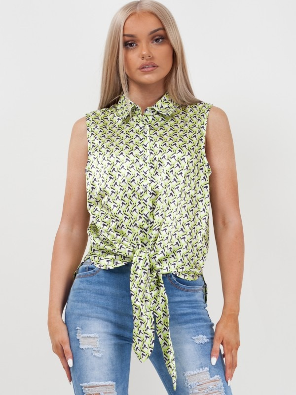 Printed Knot Tie Button Up Sleeveless Top