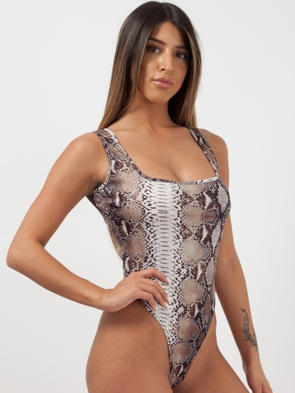 Snake Print Sleeveless Bodysuit