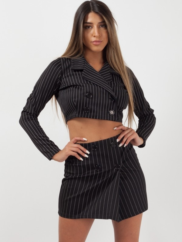 Striped Crop Jacket & Skirt Co-ord