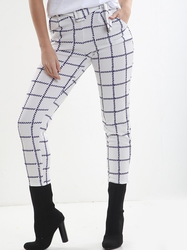 Grid Check Matching Buckle Belted Trousers