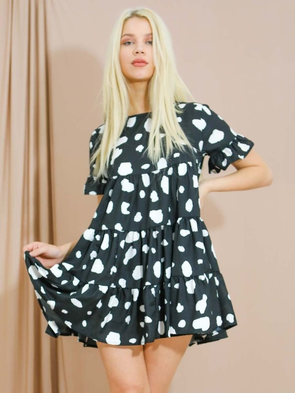 Dalmatian Print Frill Tiered Smock Dress