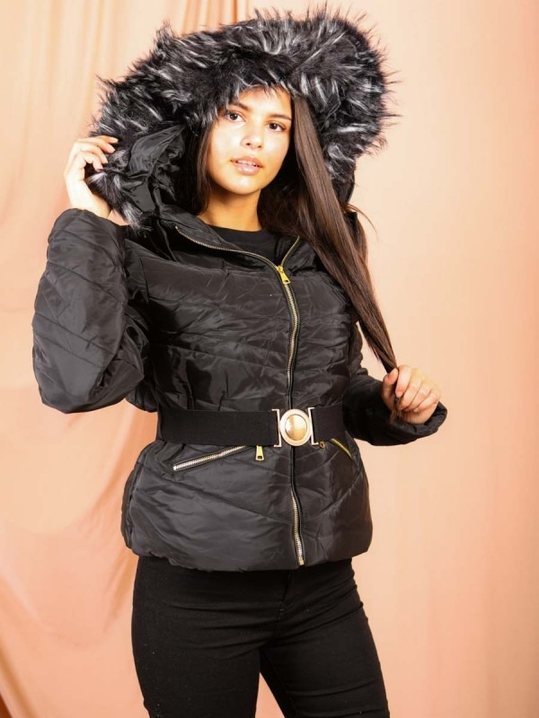 Padded Jacket With Detachable Buckle Belt