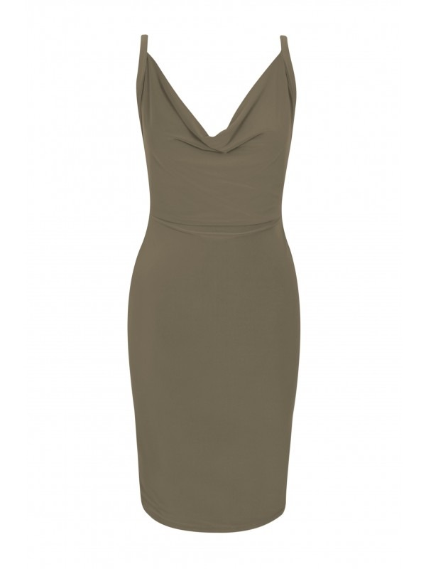 Cross Back Slinky Cowl Neck Bodycon Dress