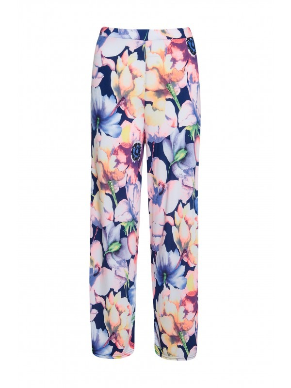 Neon Floral Print Flared Leg Palazzo Trousers