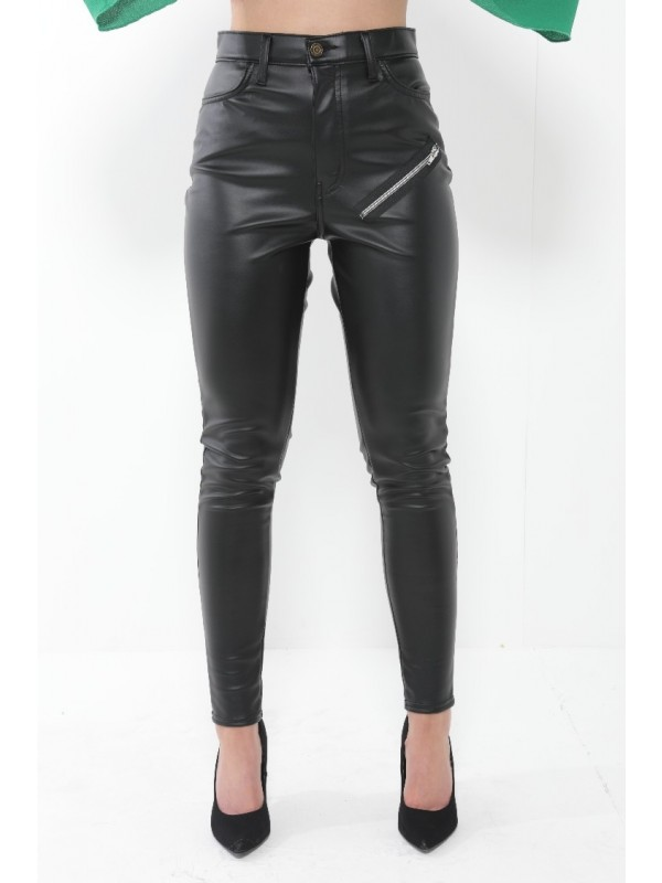PU Trouser Pants With Zip Detail