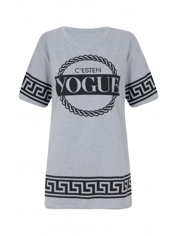 Greek Key Vogue Print Oversized T-Shirt Top