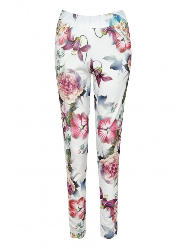 Tropical Floral Print Crepe Trousers