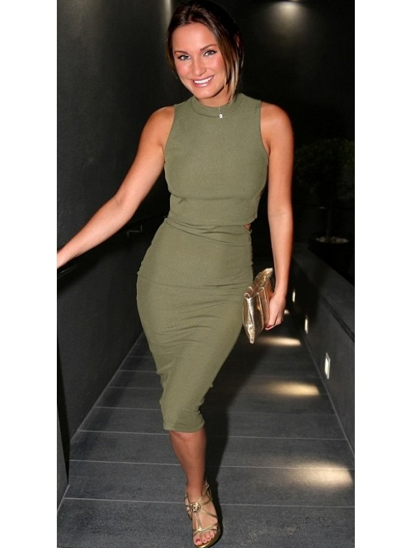 Celeb Sam Inspired Layered Cut Out Ribbed Dress