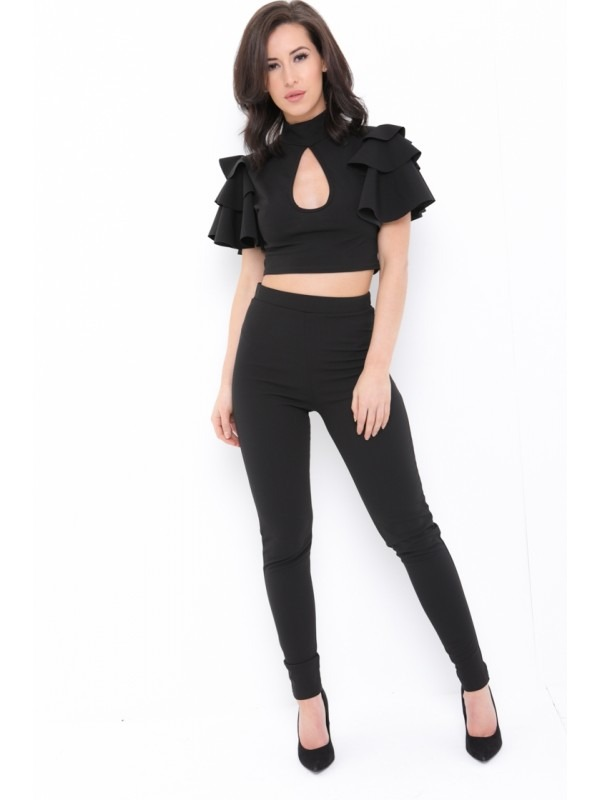 Frill Top With Keyhole And Trouser Co-ord