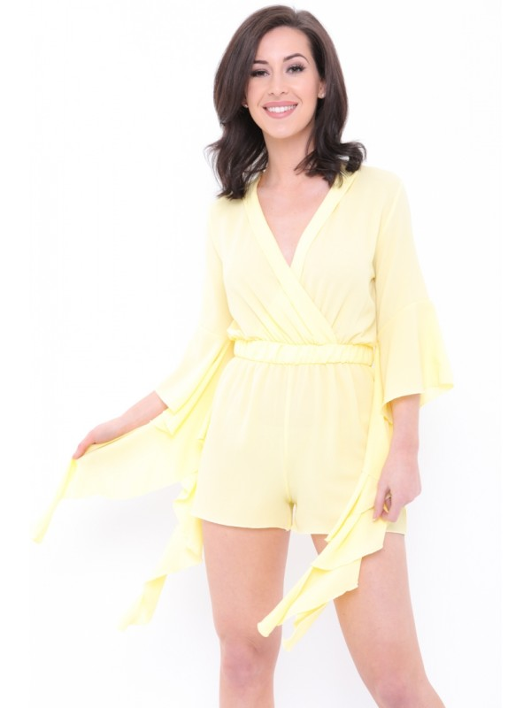 Wrap Front Frill Sleeve Playsuit