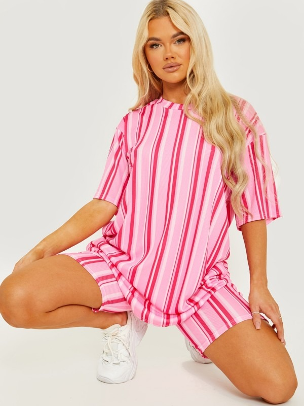 Striped Ribbed Oversized Top & Shorts Co-ord