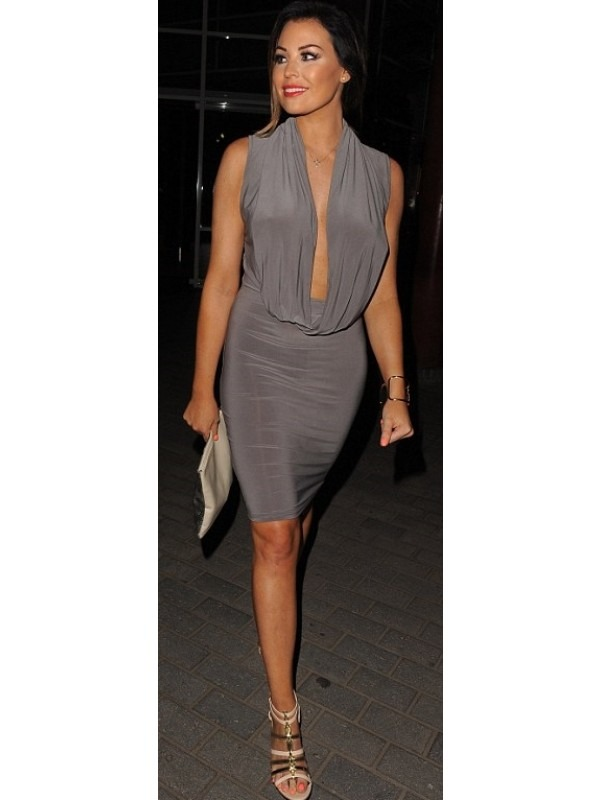 Celeb Jessica Inspired Plunging Draped Dress