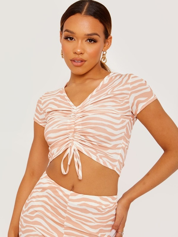 Zebra Print Ruched Front Ribbed Crop Top