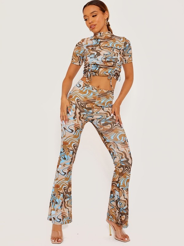 Marble Effect High Neck Crop Top & Trouser Co-ord