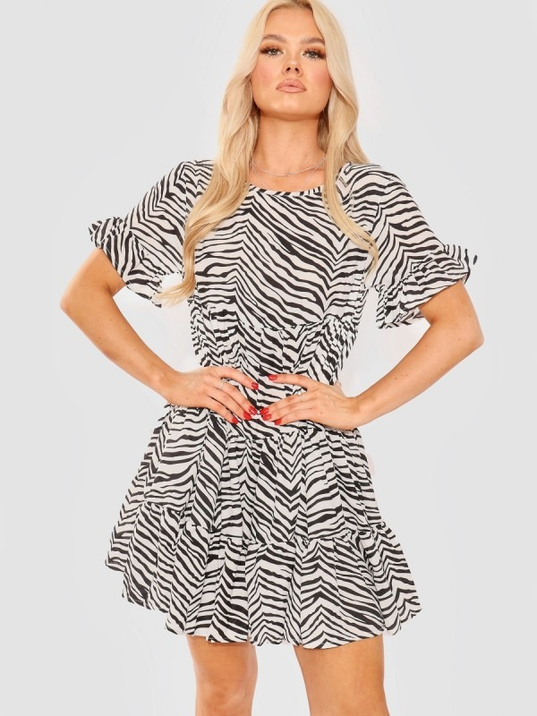 Zebra Print Frill Tiered Smock Dress