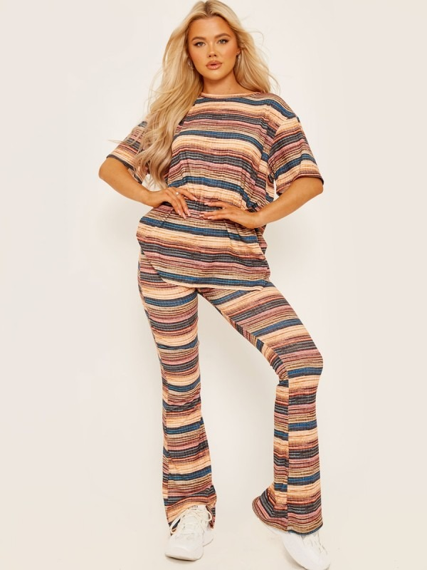 Multi Coloured Oversized Top & Flared Trouser Co-ord