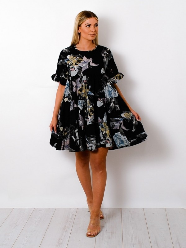 Floral Print Frill Tiered Smock Dress