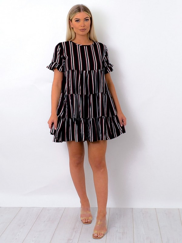 Striped Frill Tiered Smock Dress