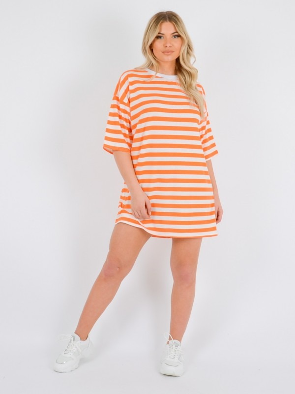 Wide Stripe Oversized Boyfriend Tunic T-Shirt