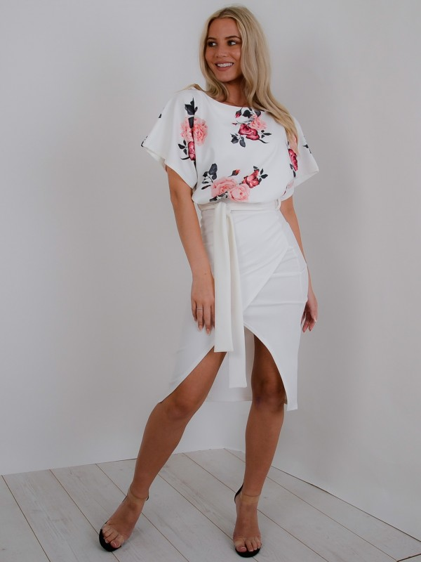 Floral Wrap Front Belted Midi Dress