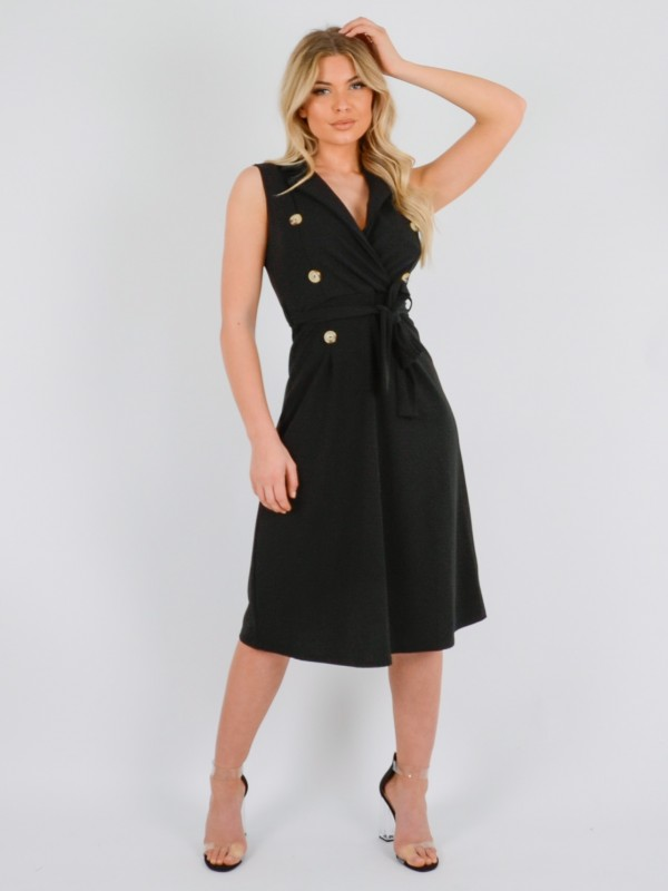 Button Front Belted Midi Dress