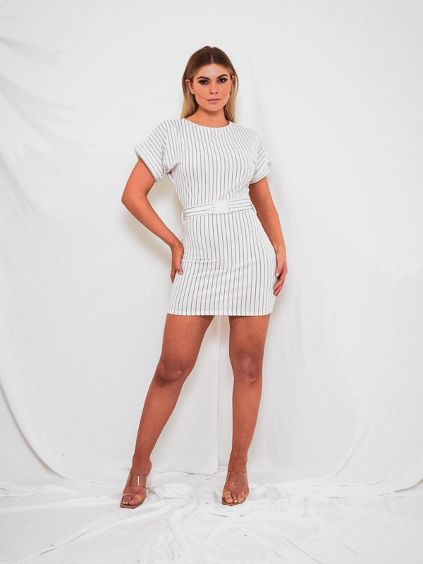 Push Buckle Belt Striped Dress