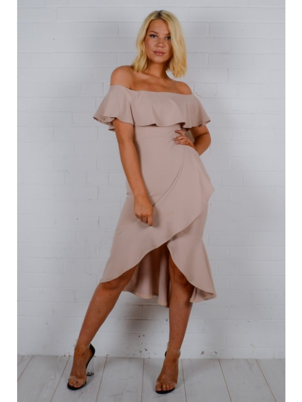 Wrap Over Frill Bardot Dress