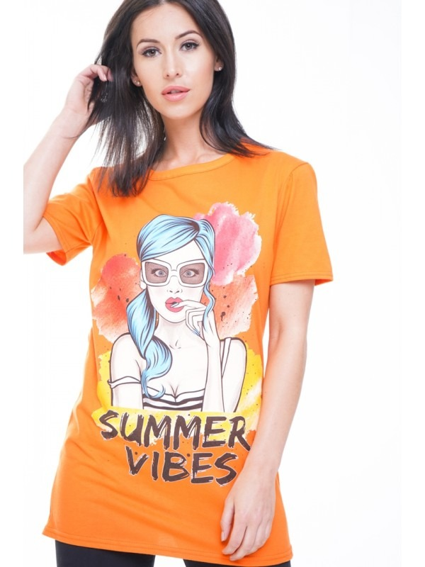 Longline Summer Vibes Graphic T-Shirt