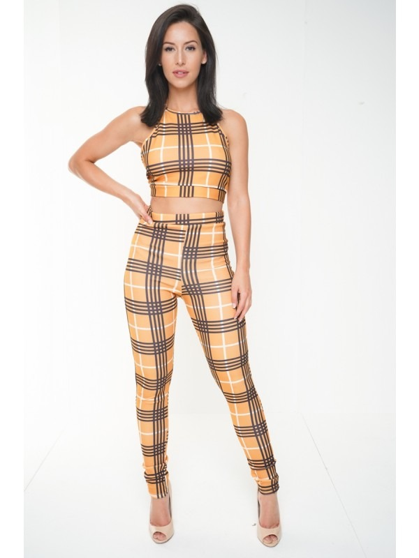 Halterneck Crop Top & Trouser Checked Co-ord
