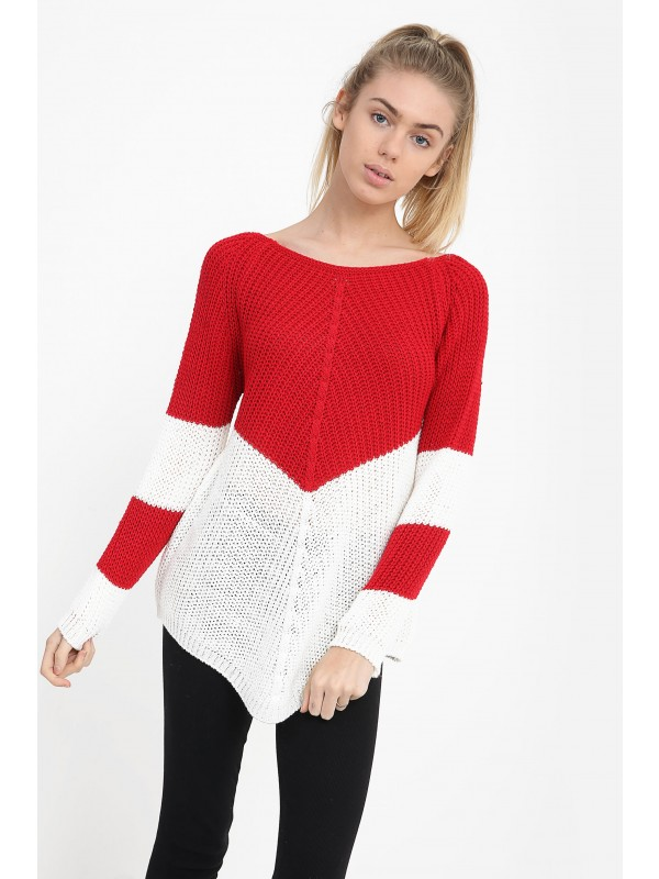 Contrast Colour Block Knitted Jumper