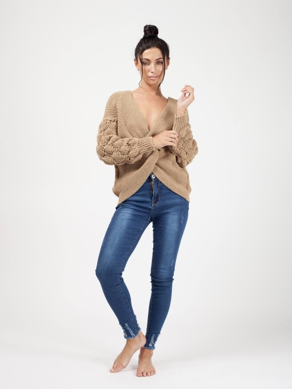 Bobble Sleeve Twist Front Knitted Jumper