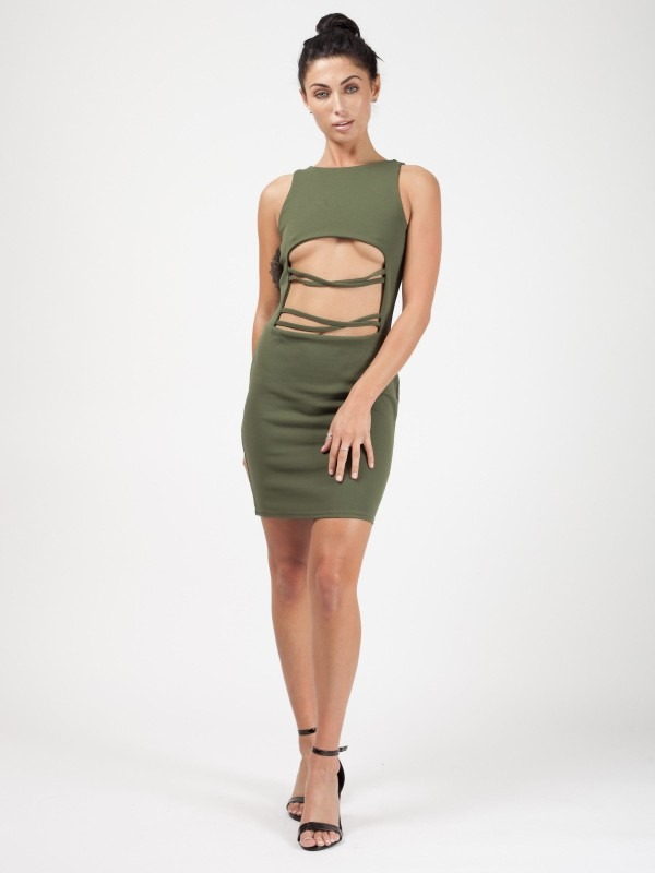 Celeb Sophie Cut Out String Front Bodycon Dress