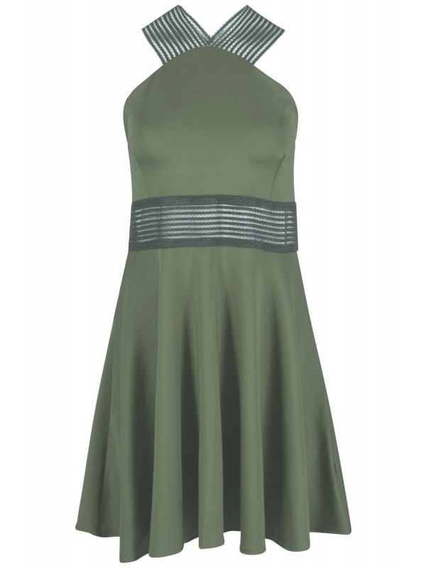 Celeb Lucy Inspired Mesh Panelled Skater Dress