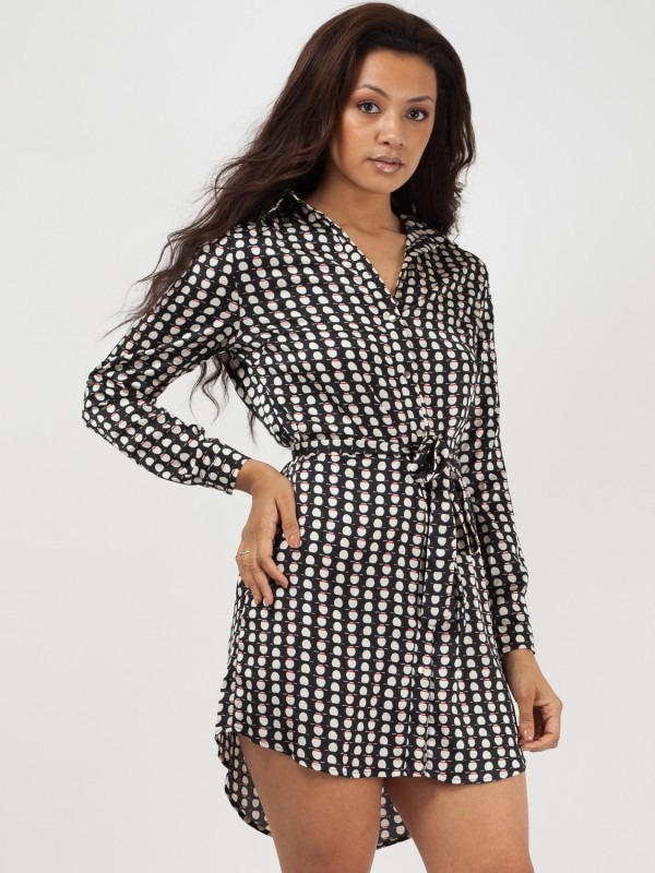 Geometric Circle Print Tie Waist Shirt Dress