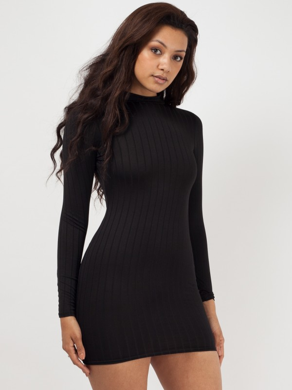 Ribbed High Neck Bodycon Shift Dress