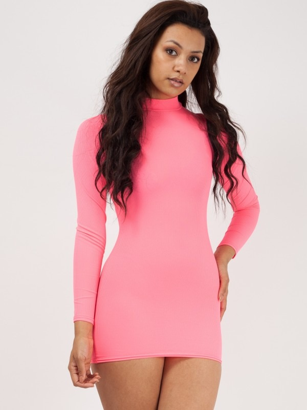 Ribbed Polo Neck Bodycon Shift Dress